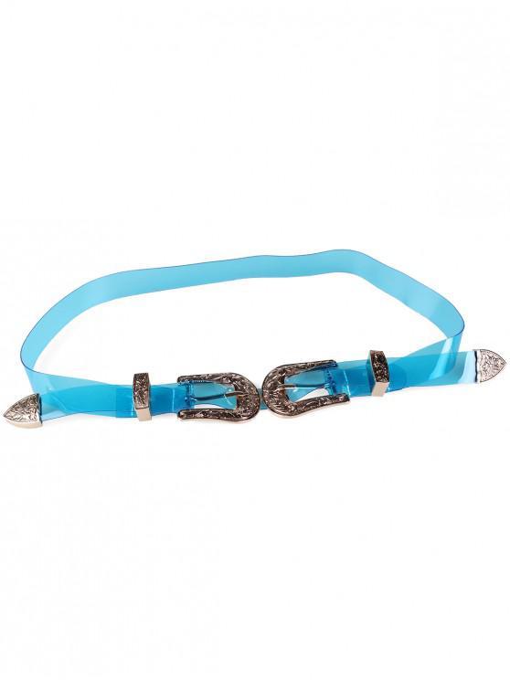 outfits Unique Double Head Buckle Jelly Waist Belt - DEEP SKY BLUE