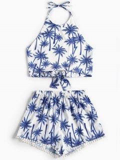 Knotted Palm Tree Shorts Set - White M
