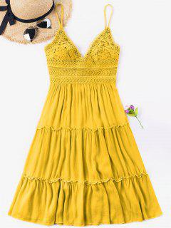 Crochet Empire Waisted Bowknot Back Dress - Bright Yellow S