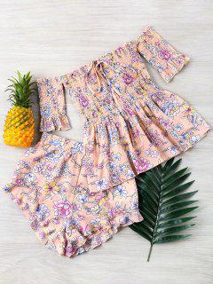 Floral Off Shoulder Top And Shorts Set - Light Pink S