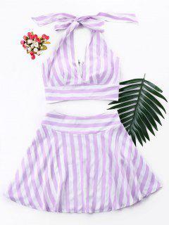 Stripe Crop Top And Skirt Set - Mauve M
