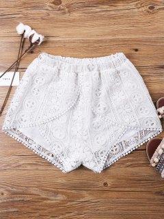 Lace Overlay Wrap Shorts - White M