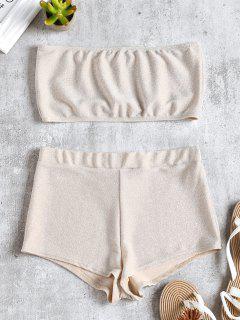 Conjunto De Top Y Pantalón Corto Brillante De Bandeau - Blanco Almendra S