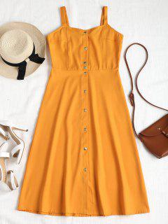 Vestido A Media Pierna Con Botones - Marrón Dorado Xl