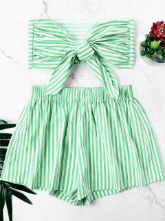 Knot Bandeau Top With Striped Shorts Set - Frog Green L
