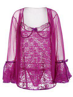Babydoll De Encaje Con Aro Y Kimono De Malla - Flor Púrpura Xl
