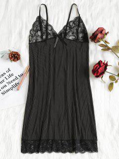 Striped Bodycon Nightdress - Black Xl