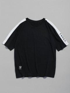 Embroidery Short Sleeves Tee - Black L