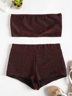 Glittering Bandeau Tube Top And Shorts Set - Red Wine L