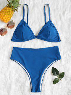 Padded High Waisted Bikini Set - Blue Eyes L