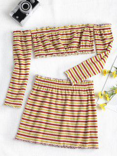 Ribbed Striped Two Piece Skirt Set - Multi L