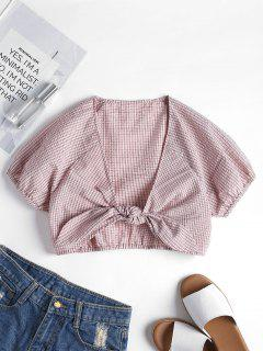 Gingham Knotted Blouse - Light Pink L