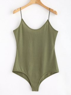 Knit Ribbed Cami Bodysuit - Army Green M