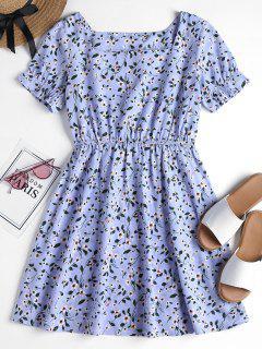 Blumen Druck Flare Kleid - Meerblau M