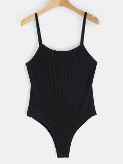 Ribbed Strappy Bodysuit - Black S