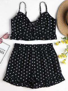 Polka Dot Ruffles Shorts Set - Black S