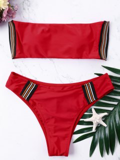 High Cut Bandeau Bikini Set - Red M