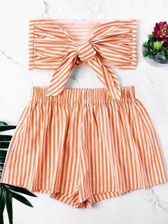 Knot Bandeau Top With Striped Shorts Set - Dark Orange S