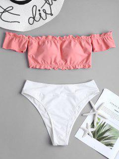 Two Tone Off Shoulder Bikini - Light Coral S