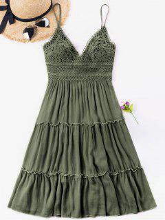 Vestido De Espalda De Ganchillo Con Cintura Y Lazo - Verde Marrón Claro L