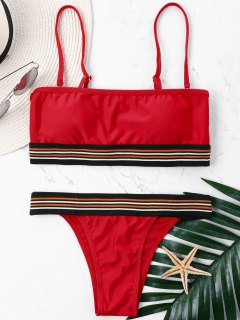 High Cut Adjustable Strap Bandeau Bikini - Lava Red M