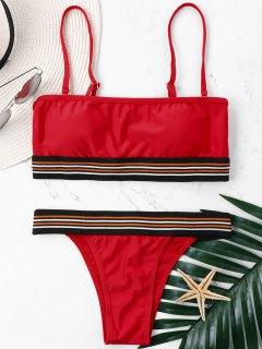 High Cut Adjustable Strap Bandeau Bikini - Lava Red L