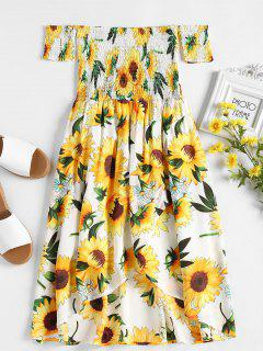 Smocked Sunflower Print Dress - White M
