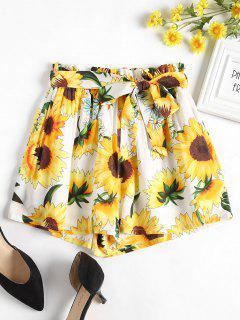 Sunflower Belted Wide Leg Shorts - White L