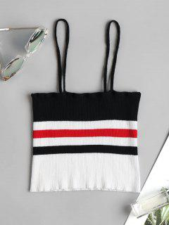 Ribbed Striped Cami Tank Top - Black