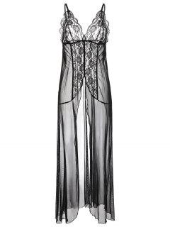 Flyaway Maxi Lingerie Dress - Black S
