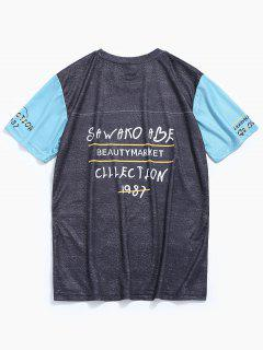 Printed Short Sleeve Baseball Tee - Gray L