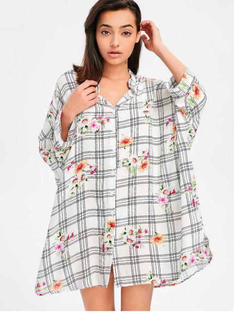 Vestido de camisa floral de tartán con manga murciélago - Blanco S Mobile