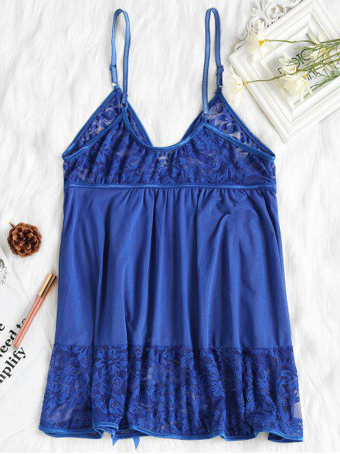online Piping Lace and Mesh Babydoll - ROYAL BLUE XL Mobile