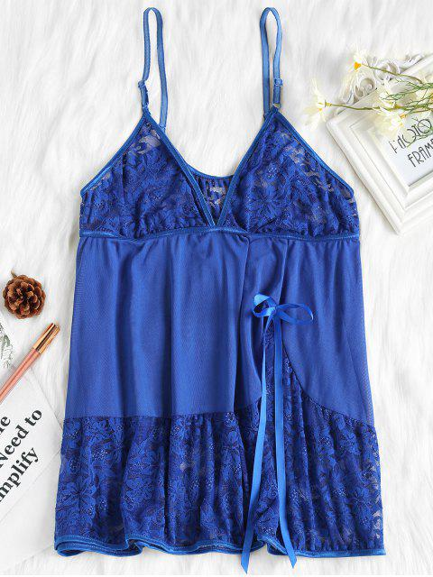 Piping Lace and Mesh Babydoll - Azul Marino XL Mobile