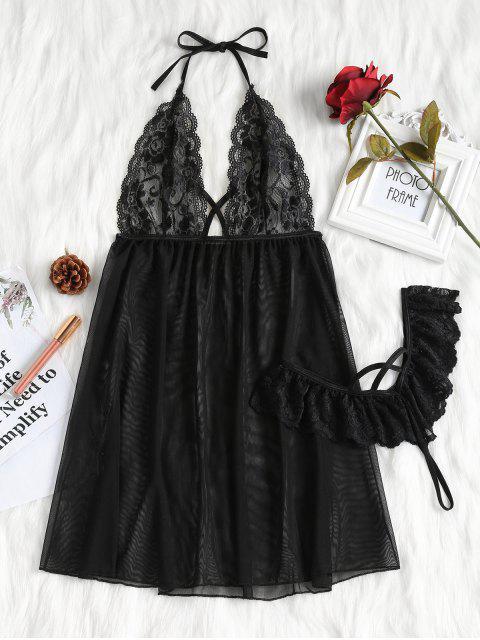 shops Halter Lace-detail Mesh Babydoll - BLACK XL Mobile