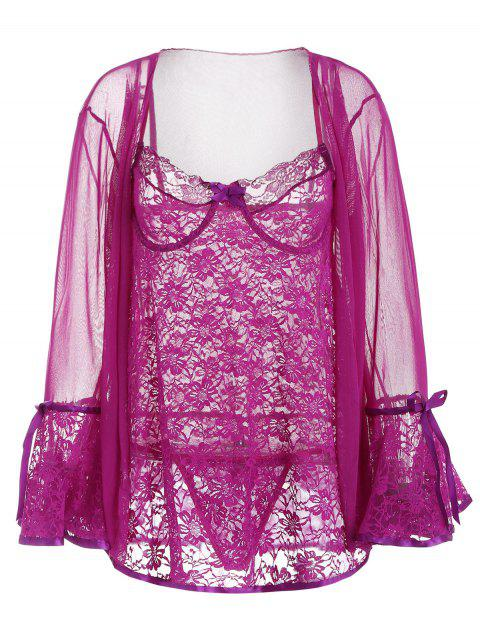 new Underwire Lace Babydoll and Mesh Kimono - PURPLE FLOWER XL Mobile