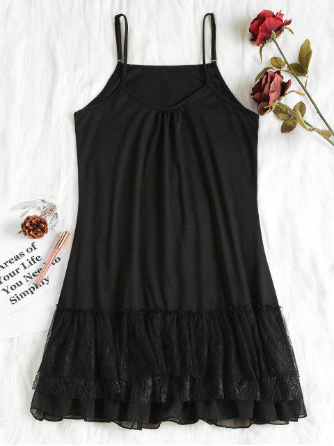 fashion Layered Ruffles Nightdress - BLACK L Mobile