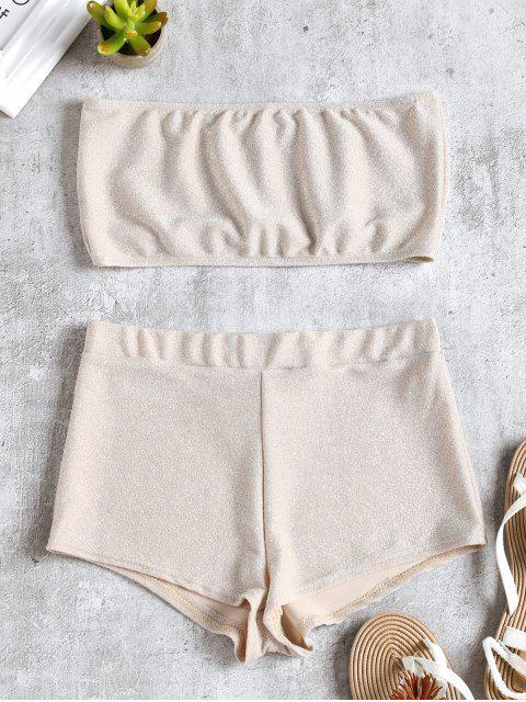 Conjunto de top y pantalón corto brillante de Bandeau - Blanco Almendra S Mobile