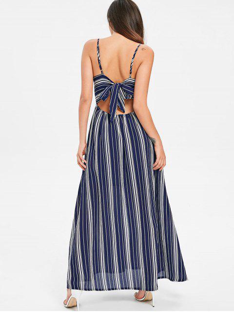 sale Bow Tie Cami Striped Maxi Dress - MIDNIGHT BLUE S Mobile