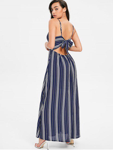 Vestido Maxi Cami Listrado com Nó Borboleta - Azul da Meia Noite XL Mobile