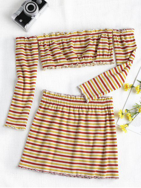 outfits Ribbed Striped Two Piece Skirt Set - MULTI S Mobile