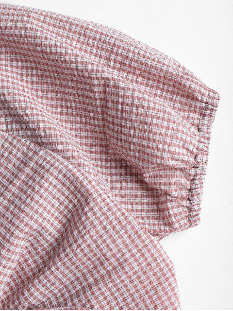 shops Gingham Knotted Blouse - LIGHT PINK L Mobile