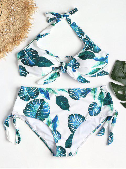 Tropischer Fliege Vorder Plus Größer Bikini - Weiß 1X Mobile