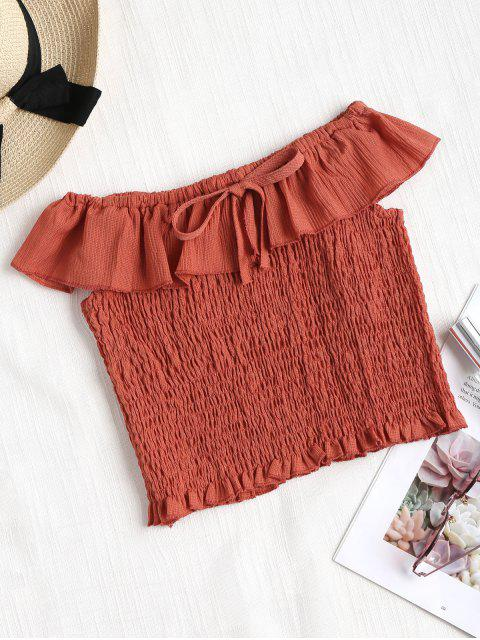 fashion Off The Shoulder Smocked Top - CORAL ONE SIZE Mobile
