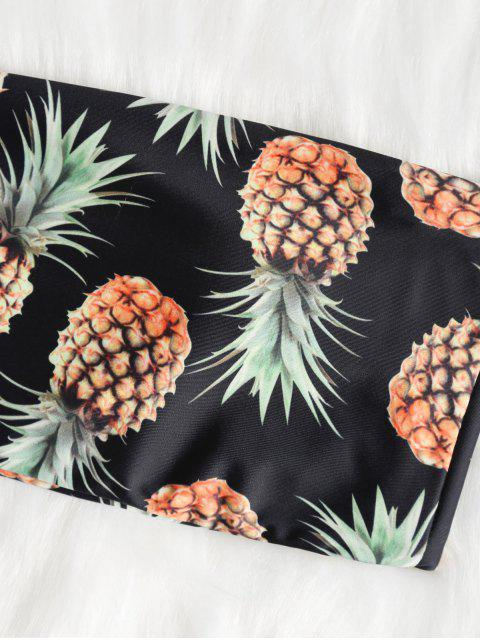 shops Bralette Pineapple Print Bandeau Bikini Set - BLACK S Mobile