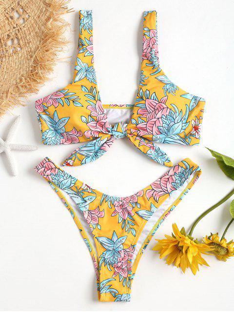 Vorder Riemchen Blumen Kopf Scrunch Hintern Bikini Set - Helles Gelb L Mobile