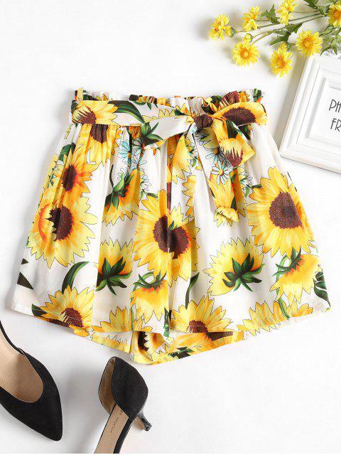 Pantalones cortos anchos de pierna con cinturón de girasol - Blanco L Mobile