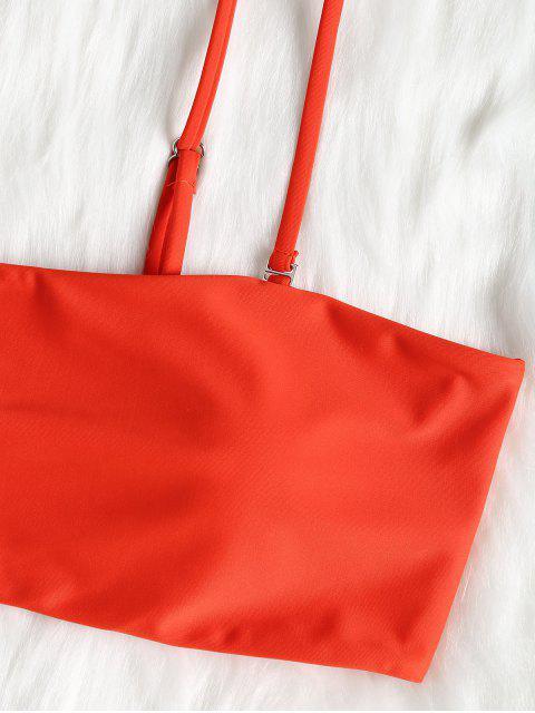 buy Padded Bandeau Thong Bikini Set - SHOCKING ORANGE L Mobile