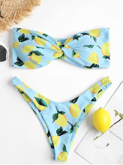 Conjunto de bikini de corte alto con estampado de limón - Azul Claro S Mobile