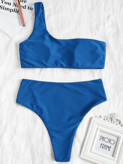 Ensemble de Bikini à Taille Haute à Une Epaule - Bleu Yeux S Mobile
